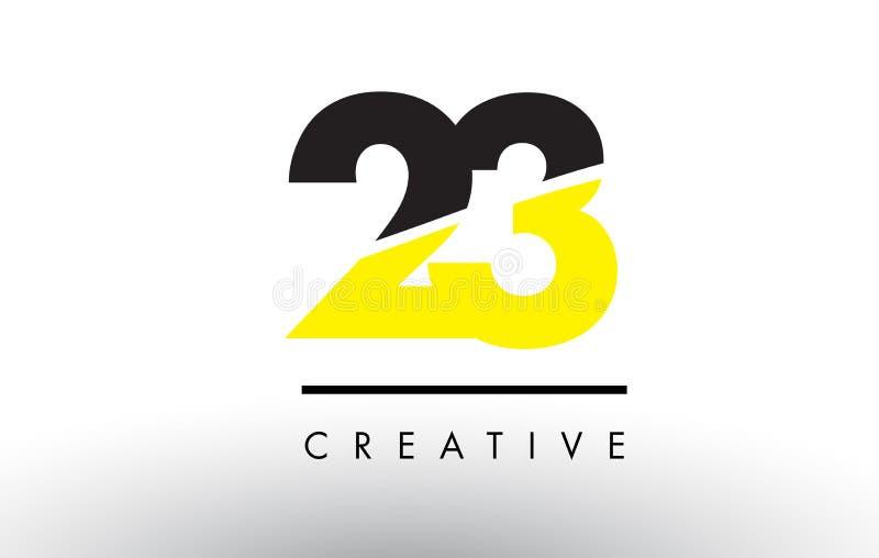 23 número preto e amarelo Logo Design ilustração do vetor