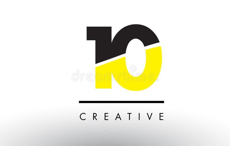 10 número preto e amarelo Logo Design ilustração stock