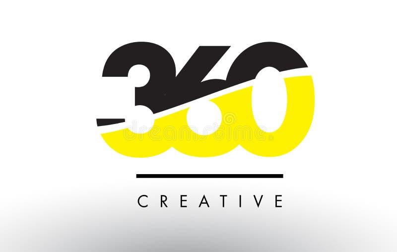 360 número preto e amarelo Logo Design ilustração stock