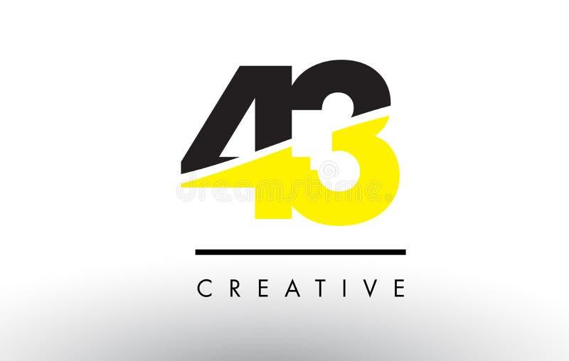43 número preto e amarelo Logo Design ilustração stock