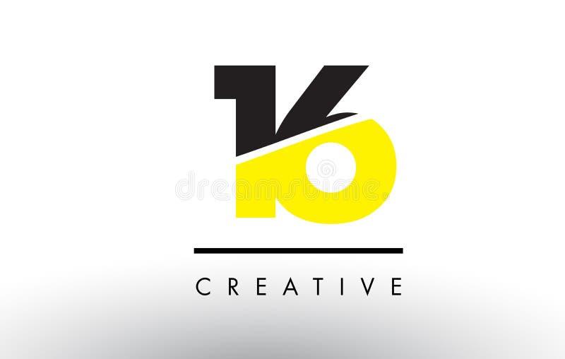 16 número preto e amarelo Logo Design ilustração stock