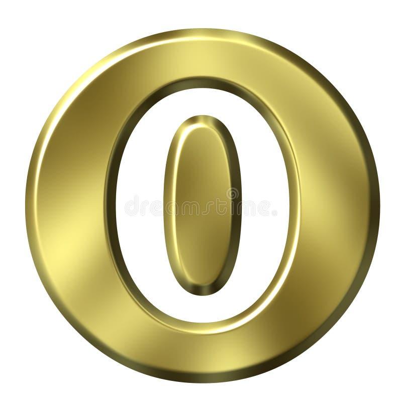 Número quadro dourado 0 ilustração stock