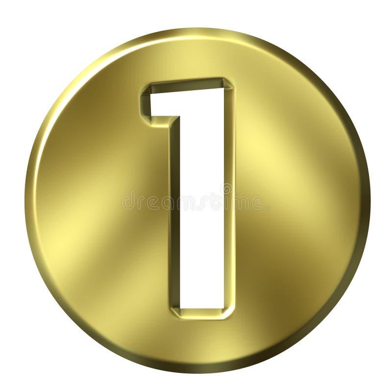 Número quadro dourado 1 ilustração do vetor