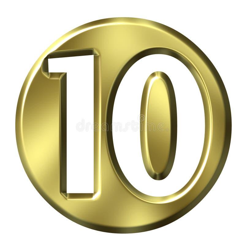 Número quadro dourado 10 ilustração royalty free