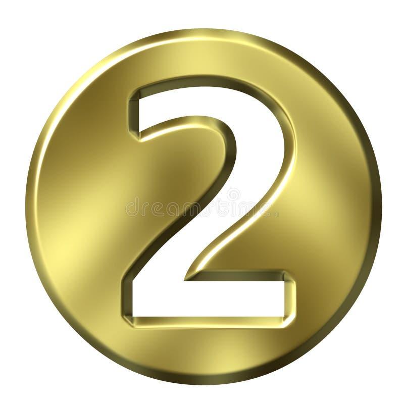 Número quadro dourado 2 ilustração stock