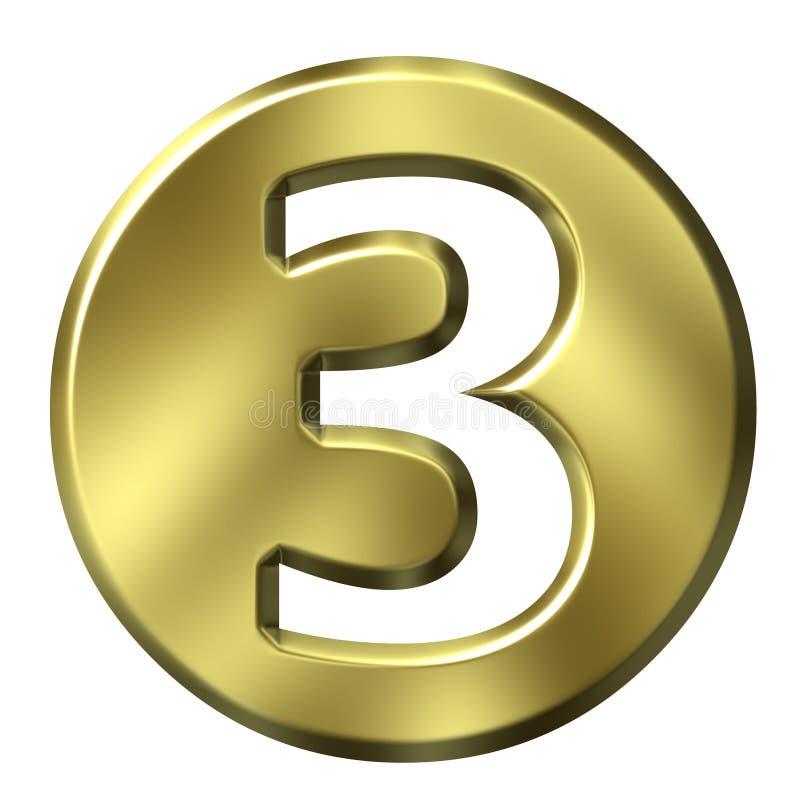 Número quadro dourado 3 ilustração do vetor