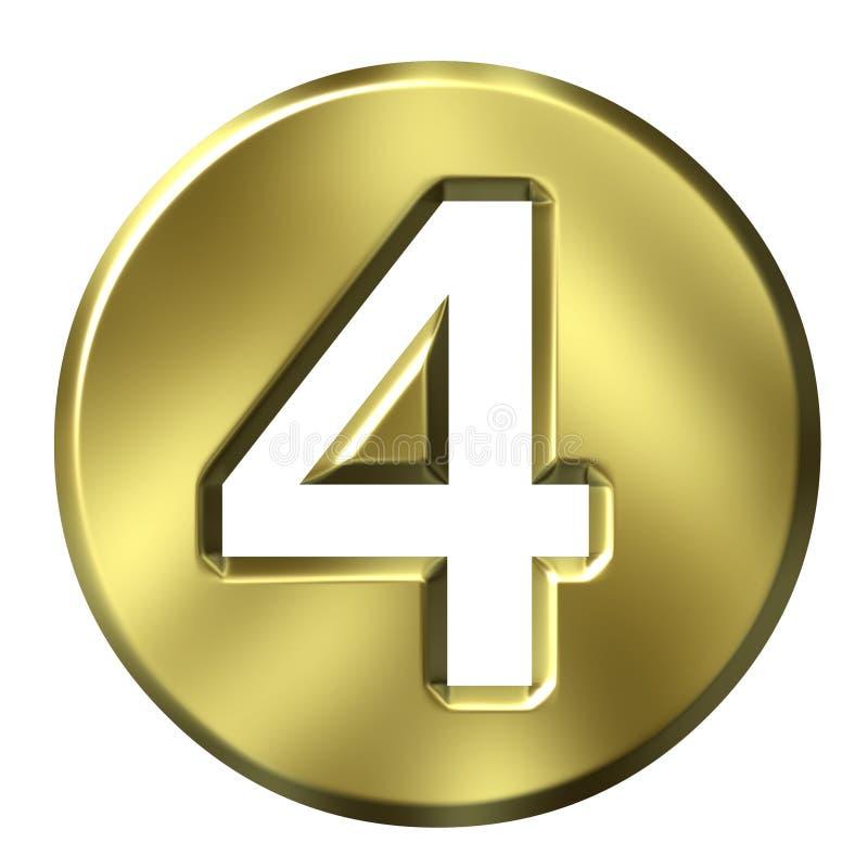 Número quadro dourado 4 ilustração stock