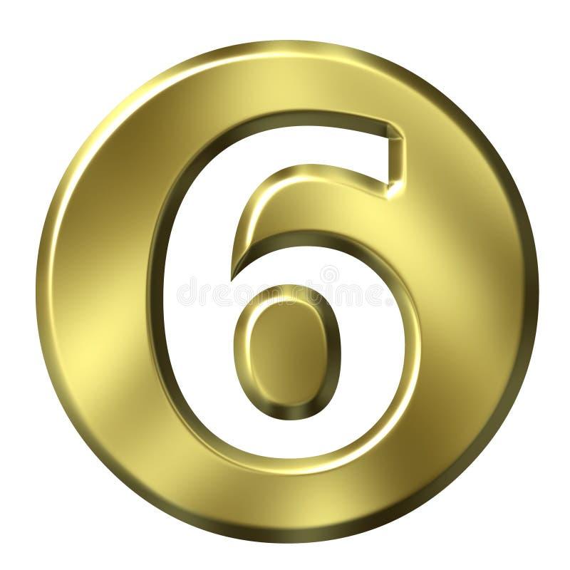 Número quadro dourado 6 ilustração stock