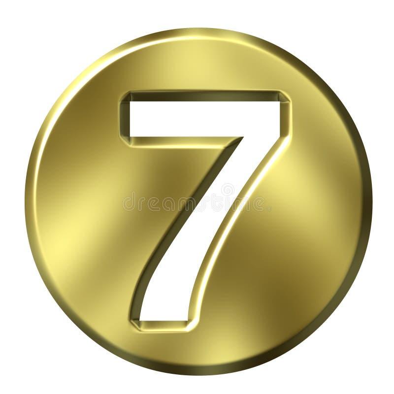 Número quadro dourado 7 ilustração royalty free