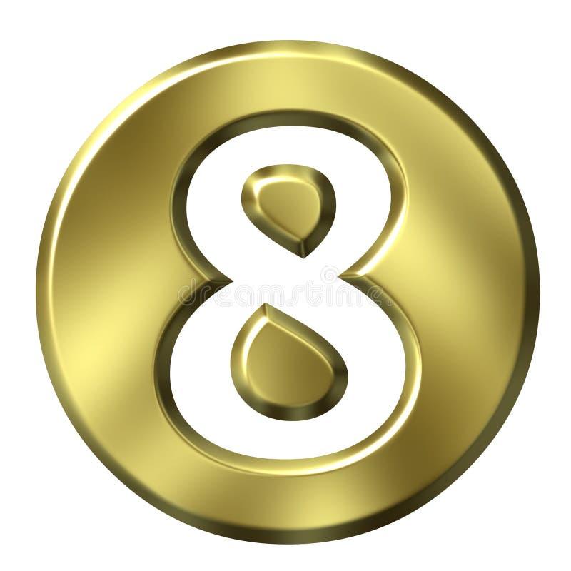 Número quadro dourado 8 ilustração stock