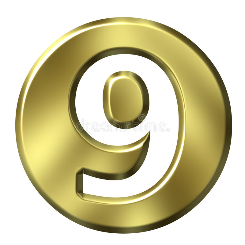 Número quadro dourado 9 ilustração stock