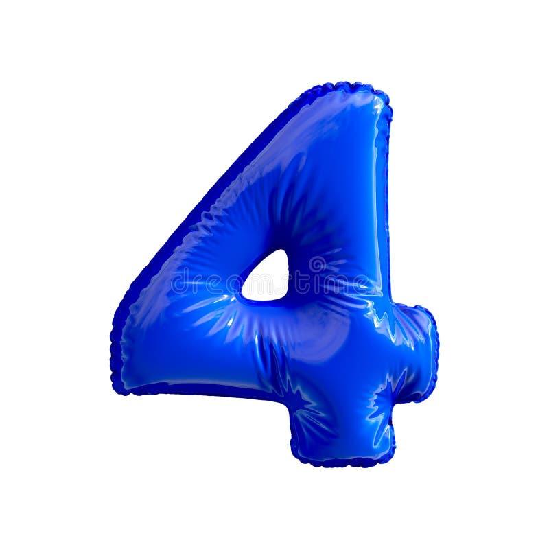 Número 4 quatro de balões azuis em um fundo branco ilustração stock