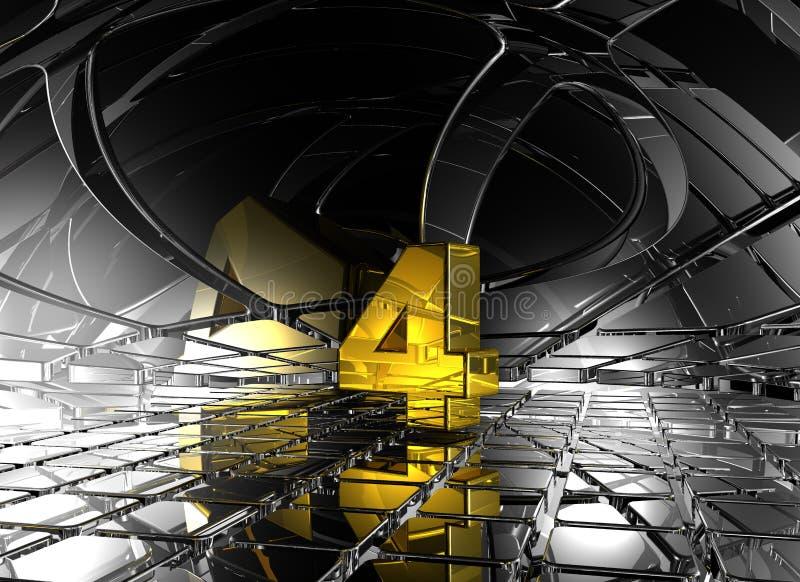 Número quatro no espaço futurista abstrato ilustração royalty free