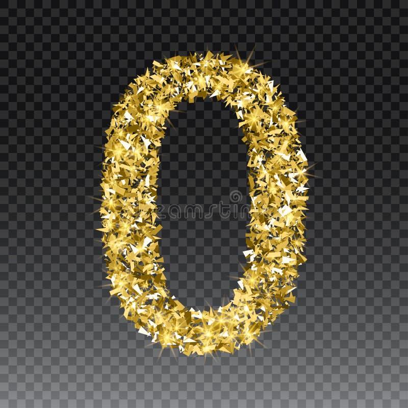 Número que brilla cero del oro Vector la figura de oro brillante letras de la fuente de chispas en fondo a cuadros libre illustration