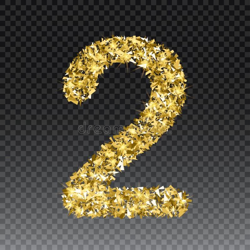 Número que brilla dos del oro Vector la figura de oro brillante letras de la fuente de chispas en fondo a cuadros libre illustration