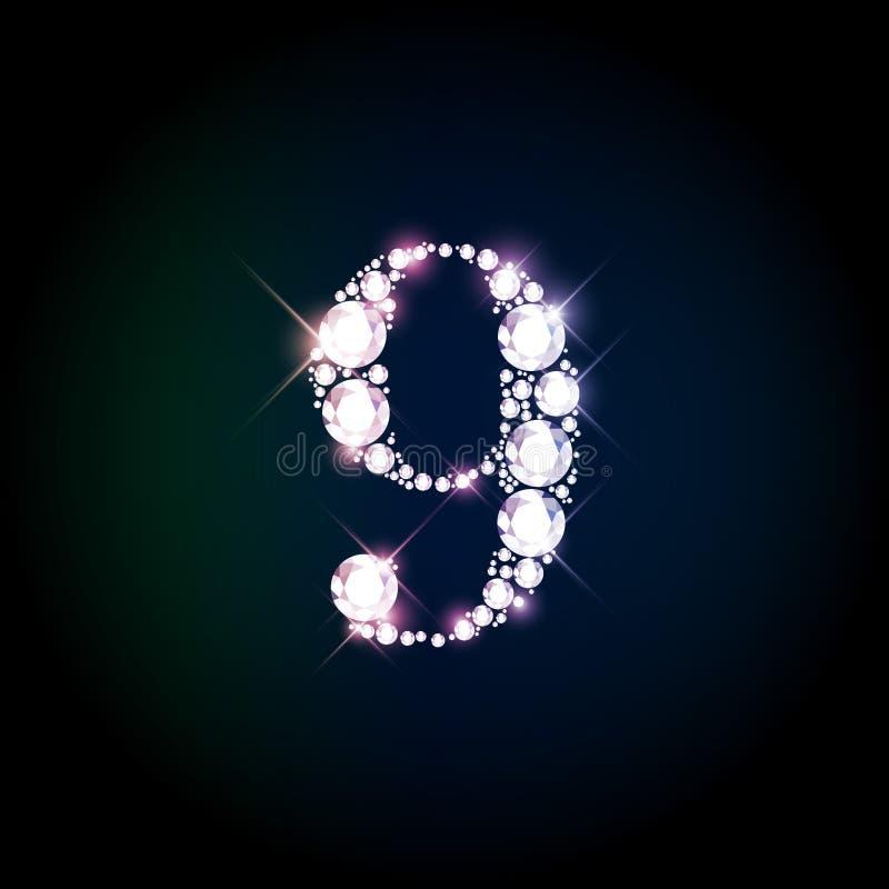 Número que brilla nueve del diamante de brilliants chispeantes stock de ilustración