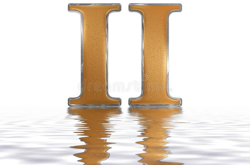 Número romano II, dúo, 2, dos, reflejados en la superficie del agua, i stock de ilustración