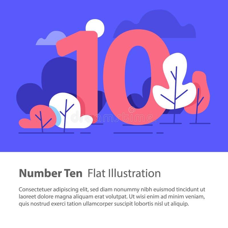 Número sequencial, número dez, conceito superior da carta, céu noturno, ilustração lisa ilustração royalty free