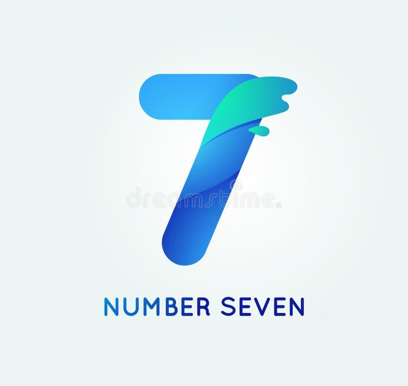 Número siete en estilo de la forma de la tendencia libre illustration
