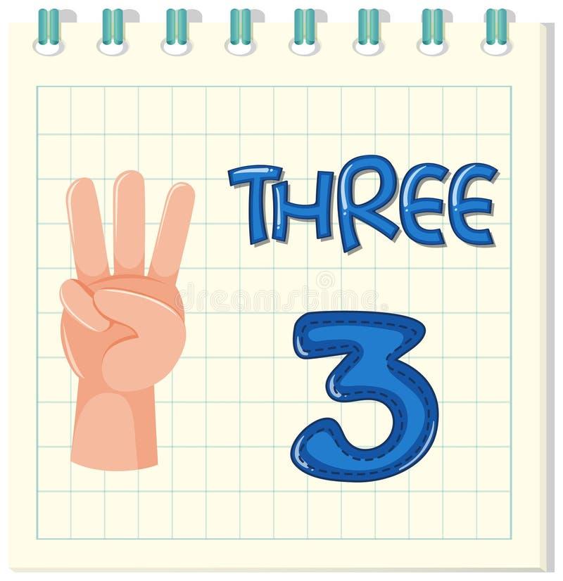 Número três no molde da nota ilustração stock