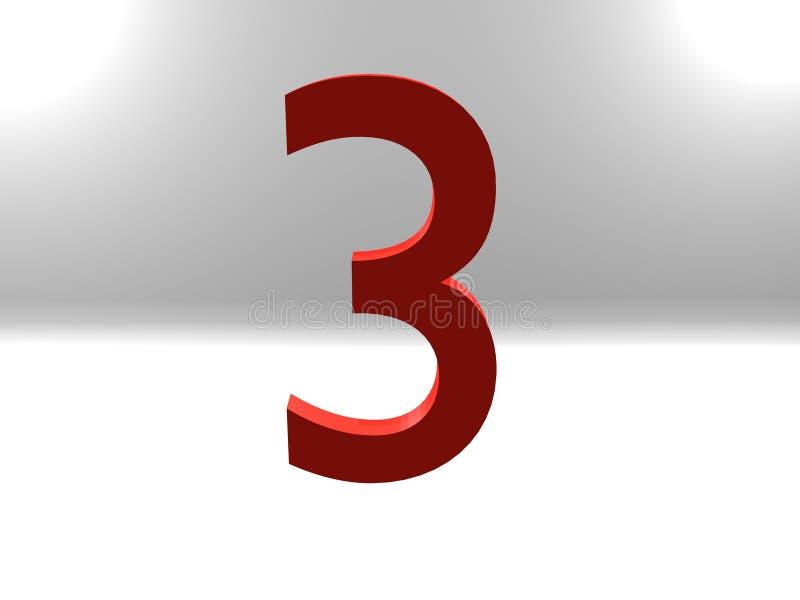 Número tres en color rojo en fondo imagen de archivo