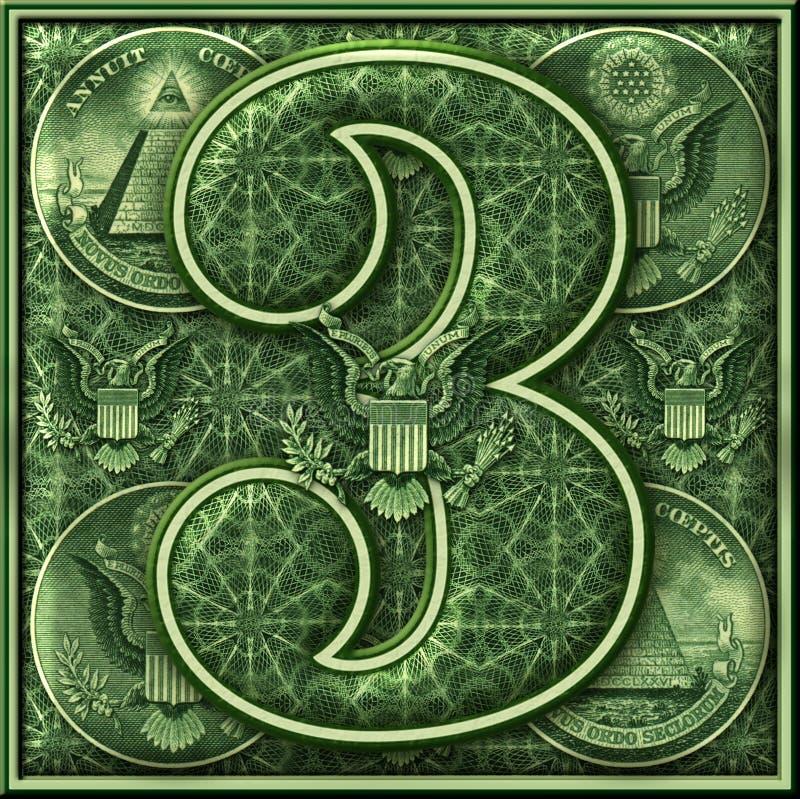 Número tres presentado con un tema iluminado del dinero ilustración del vector
