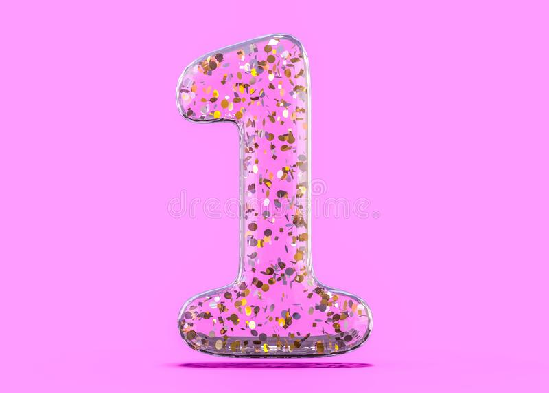 Número um… Alfabeto dos balões transparentes da folha 3d ilustração stock