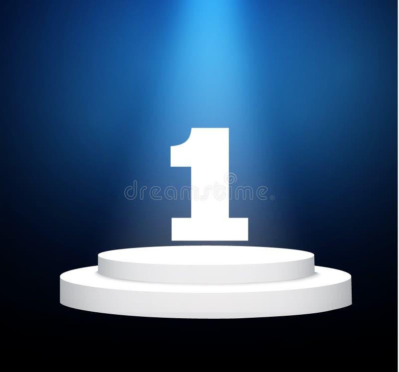 Número um… pódio em um fundo transparente cena branca iluminada O pódio dos vencedores ilustração do vetor