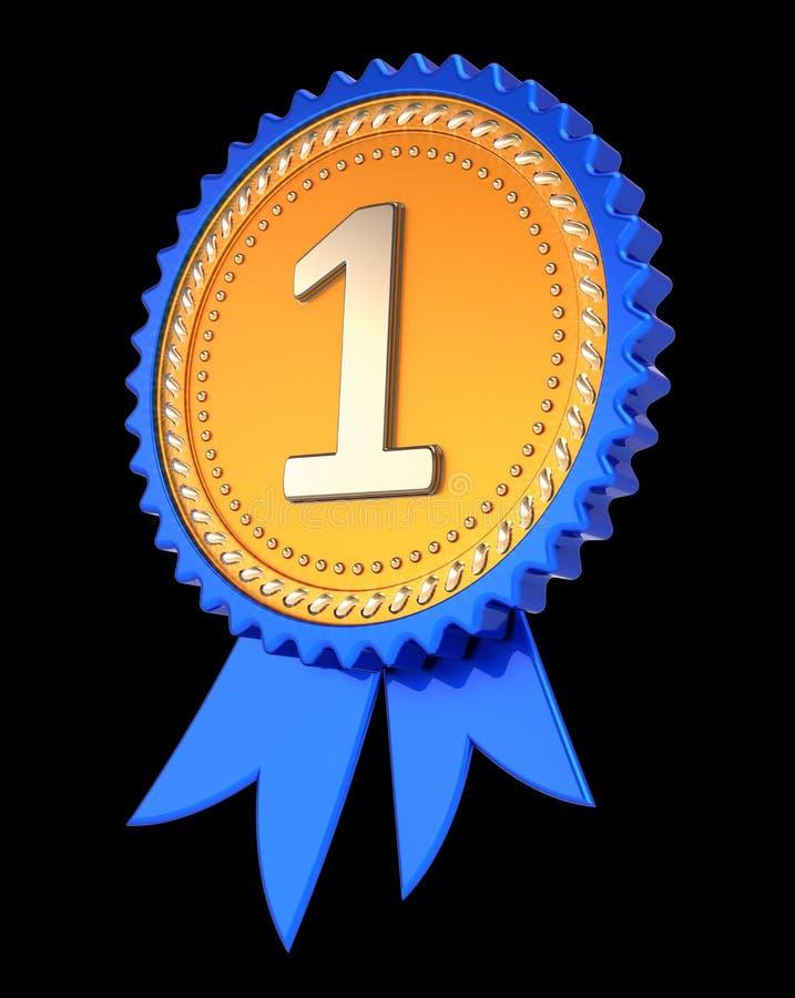 Número um 1 ?a primeira fita da concessão do lugar, azul dourado da medalha ilustração stock