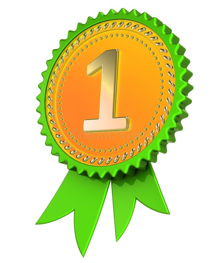 Número 1 um verde da fita da concessão da medalha dourado primeiro primeiro lugar ilustração do vetor