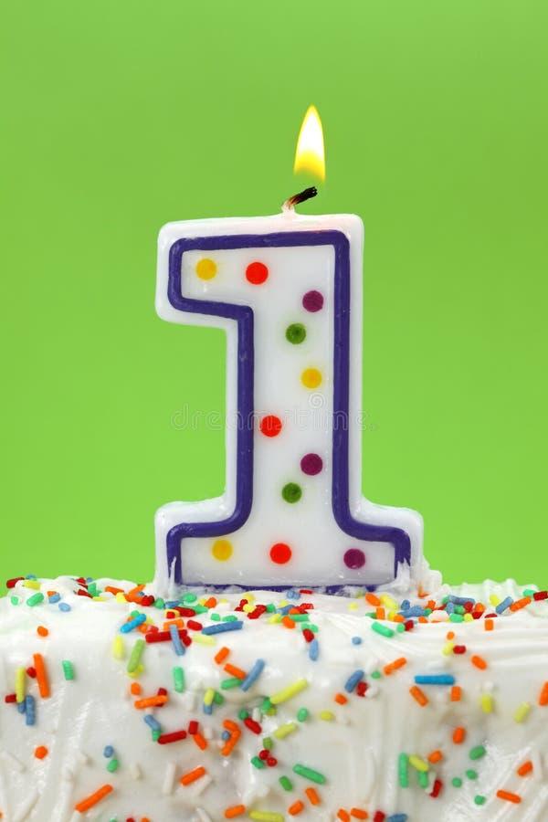 Número uma vela do aniversário imagem de stock royalty free