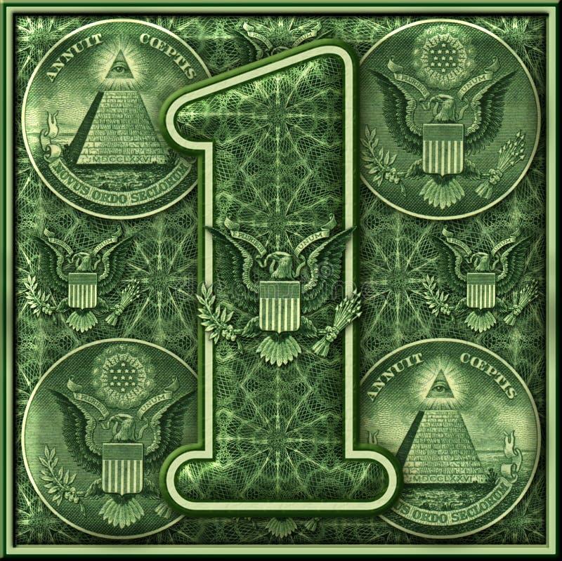 Número uno presentado con un tema iluminado del dinero stock de ilustración