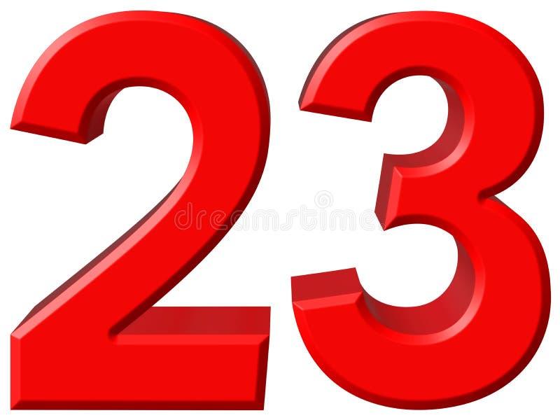 Número 23, veintitrés, aislado en el fondo blanco, rende 3d stock de ilustración
