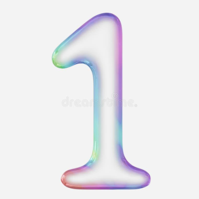 Número Vibrantly colorido 1 rendido usando uma bolha ilustração stock