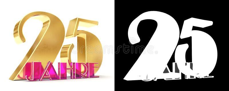 Número vinte cinco anos 25 anos de projeto da celebração Elementos dourados do molde do número do aniversário para sua festa de a ilustração royalty free