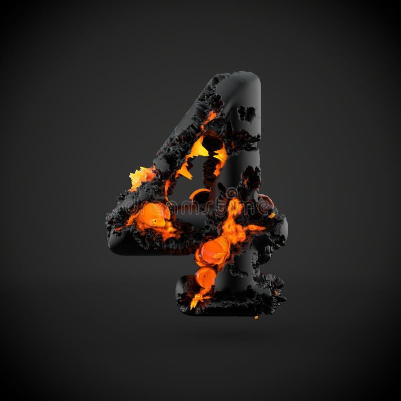 Número volcánico 4 aislado en fondo negro foto de archivo