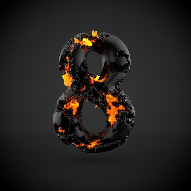 Número volcánico 8 aislado en fondo negro imagen de archivo libre de regalías