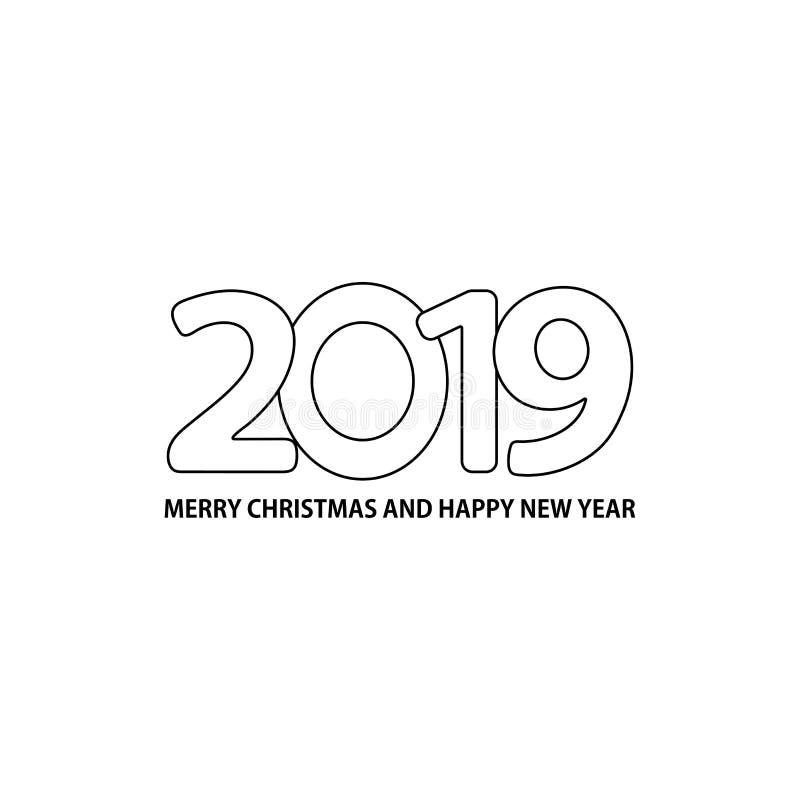 Número 2019 y Feliz Navidad del texto y Feliz Año Nuevo en el w stock de ilustración