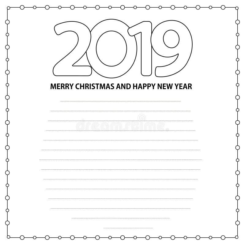 Número 2019 y Feliz Navidad del texto y Feliz Año Nuevo en el w ilustración del vector