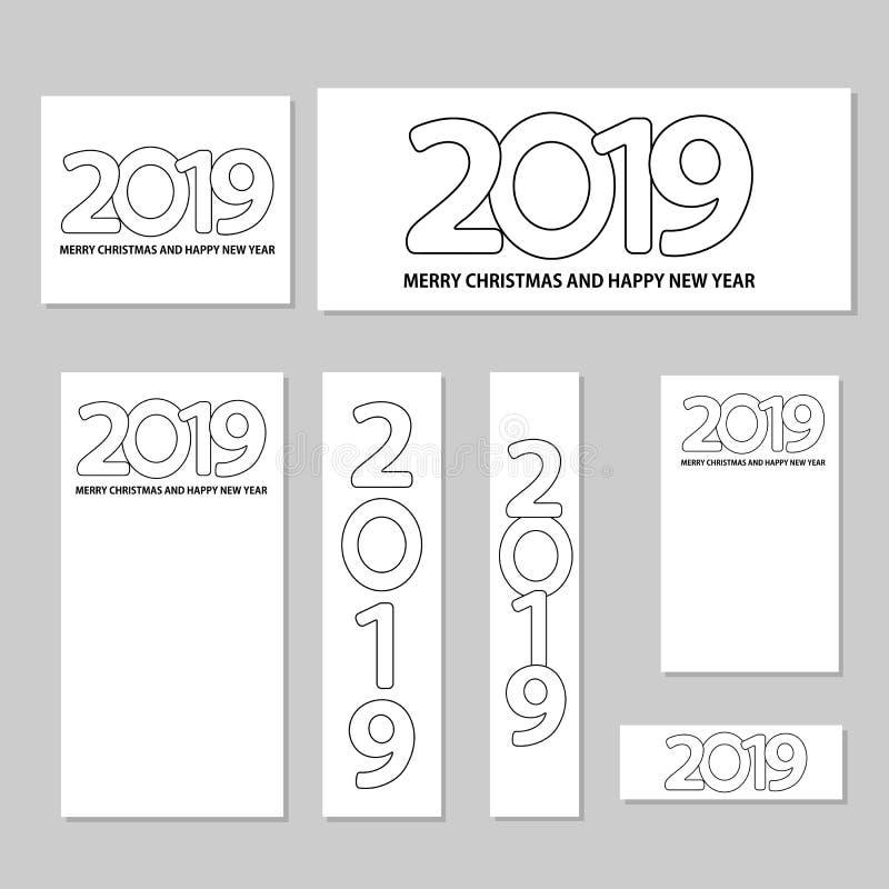 Número 2019 y Feliz Navidad del texto y Feliz Año Nuevo en el w libre illustration