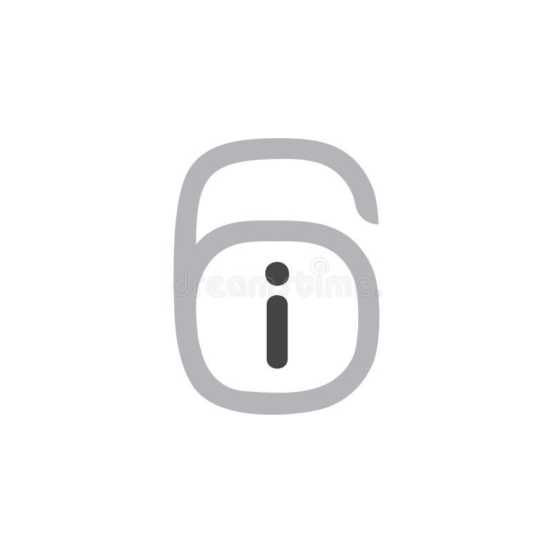 Número 6 yo vector del logotipo del símbolo ilustración del vector