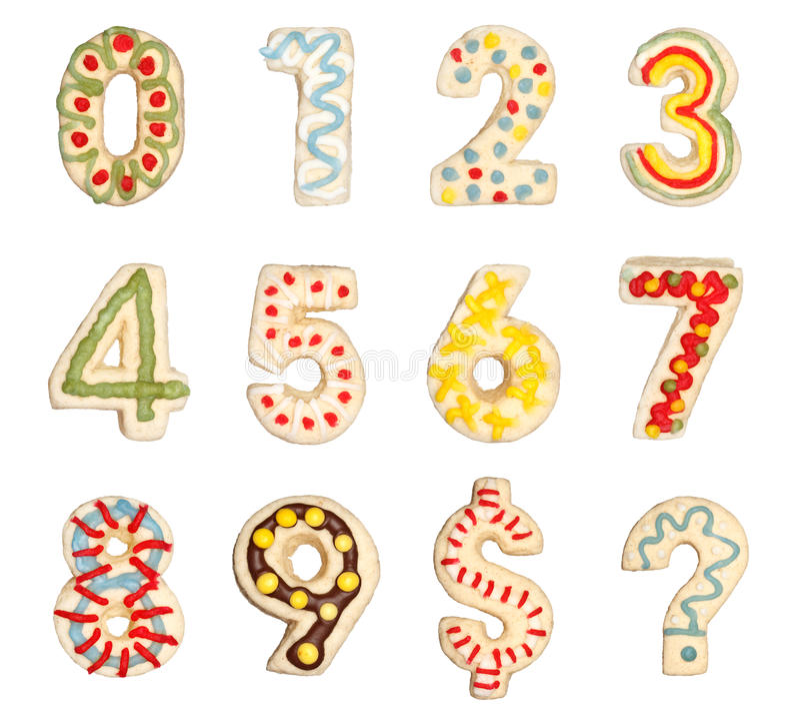 Números 0 a 9 de las galletas adornadas stock de ilustración