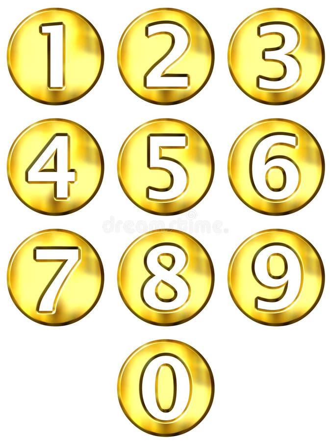 números 3D quadro dourados ilustração royalty free