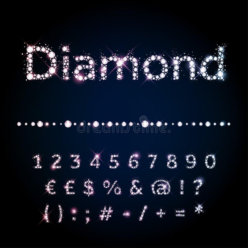 Números ajustados da fonte brilhante do diamante e símbolos especiais ilustração royalty free