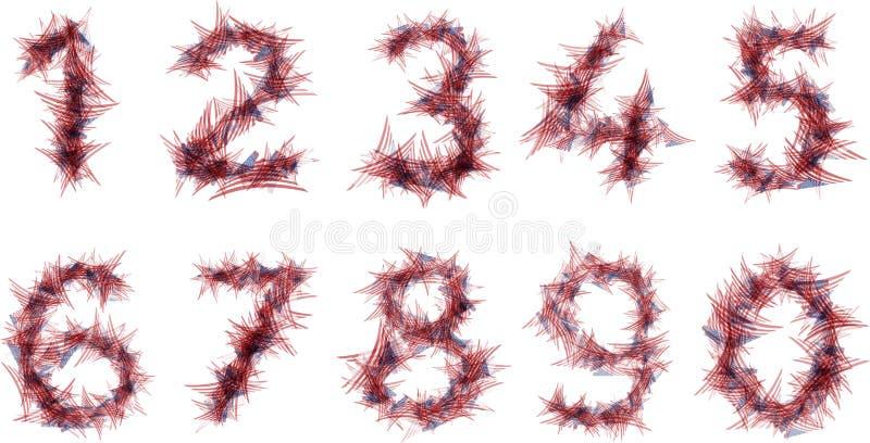 Números ajustados das bandeiras triangulares dos EUA da cerda afiada ilustração stock