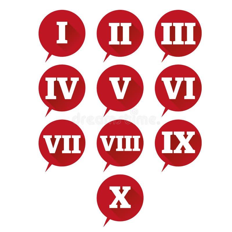 Números ajustados Numeral romano do projeto liso do vetor ilustração do vetor