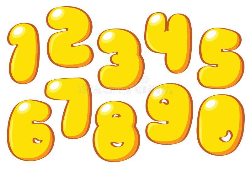 Números amarillos de la historieta ilustración del vector