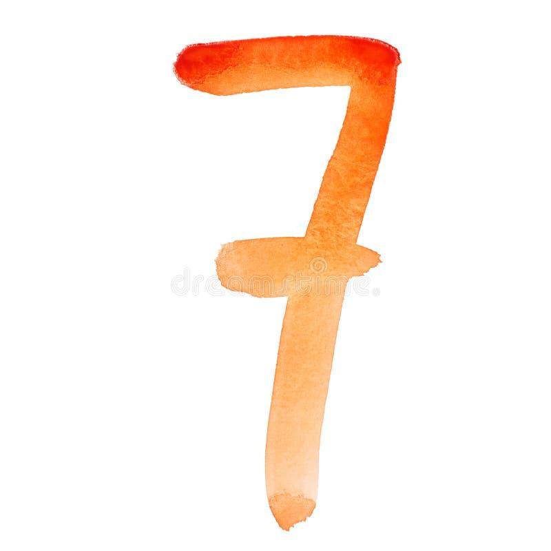 Números anaranjados de la acuarela libre illustration