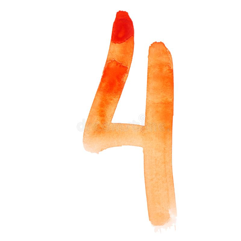 Números anaranjados de la acuarela ilustración del vector