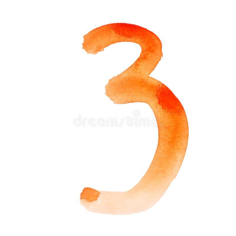 Números anaranjados de la acuarela stock de ilustración